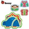 1 pcs Sozzy Placa Dos Desenhos Animados de Animais das Crianças Criativas Placa Serviço Aperitivo Prato Pratos Bonitos Sub-grade Do Bebê Comer bandeja