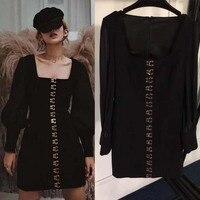 Черное платье женские модные Фонарь рукавом Сельма бедра Женская одежда boho Длинные рукава Вечерние Нарядные платья осень готическая одежд