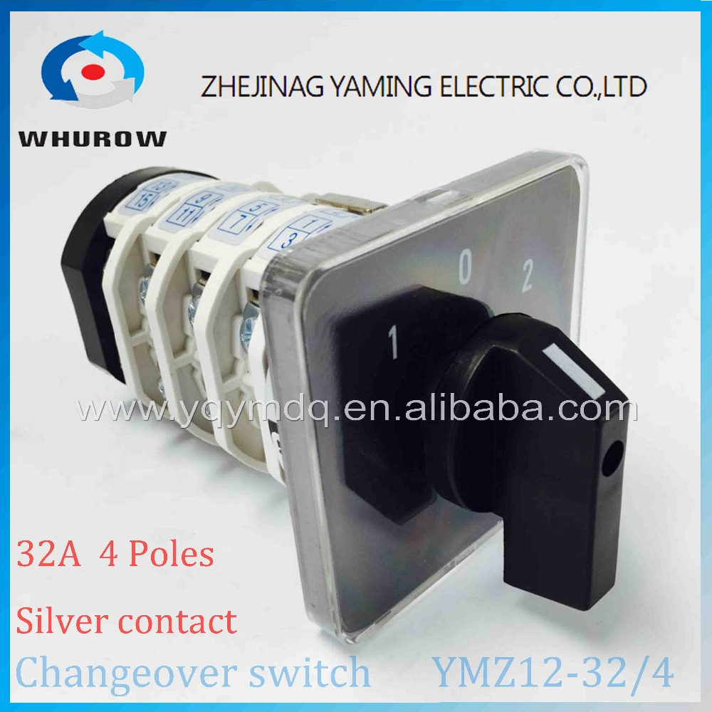 Rotary switch knob 3 position 1-0-2 YMZ12-32/4 universal manual electrical changeover cam switch 32A 690V 4 phases high quality load circuit breaker switch ac ui 660v ith 100a on off 3 poles 3 phases 3no 2 position universal rotary cam changeover switch