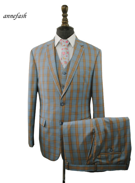 7c622f9270cd6d Custom Made high quality 150's worsted pure wool light blue windowpane  check Suit Men Slim Fit Suit(jacket+pants+vest) 22 color
