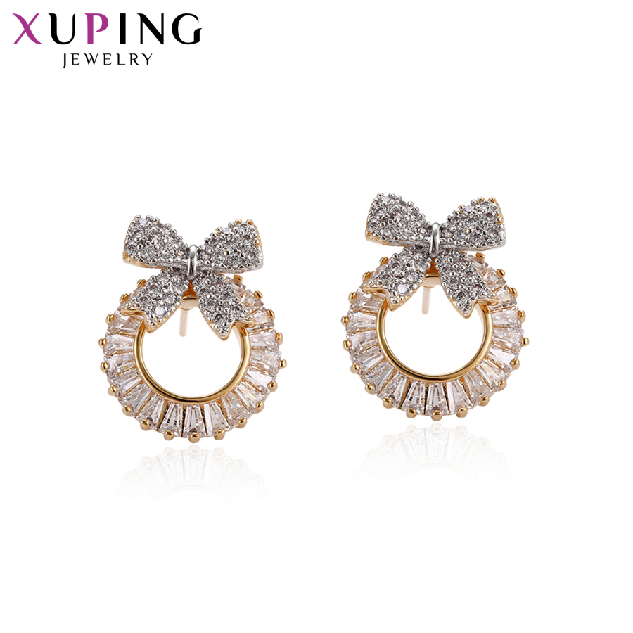 11.11 Deals Xuping Fashion Elegant Earrings Charm Style Bowknot Shaped Studs for Women Girls Jewelry Gifts S83,4-95212
