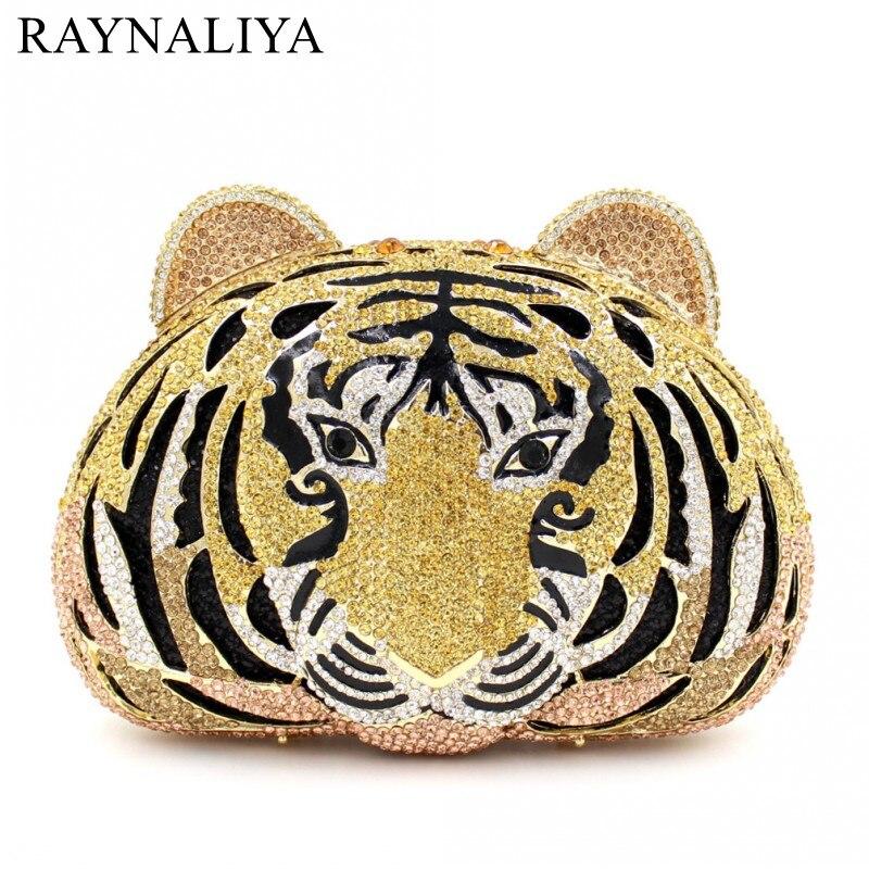 Tigre cristal sacs de soirée femmes de luxe embrayage sac de bal clouté diamant soirée pochettes sac à main fête Animal SMYZH-E0216