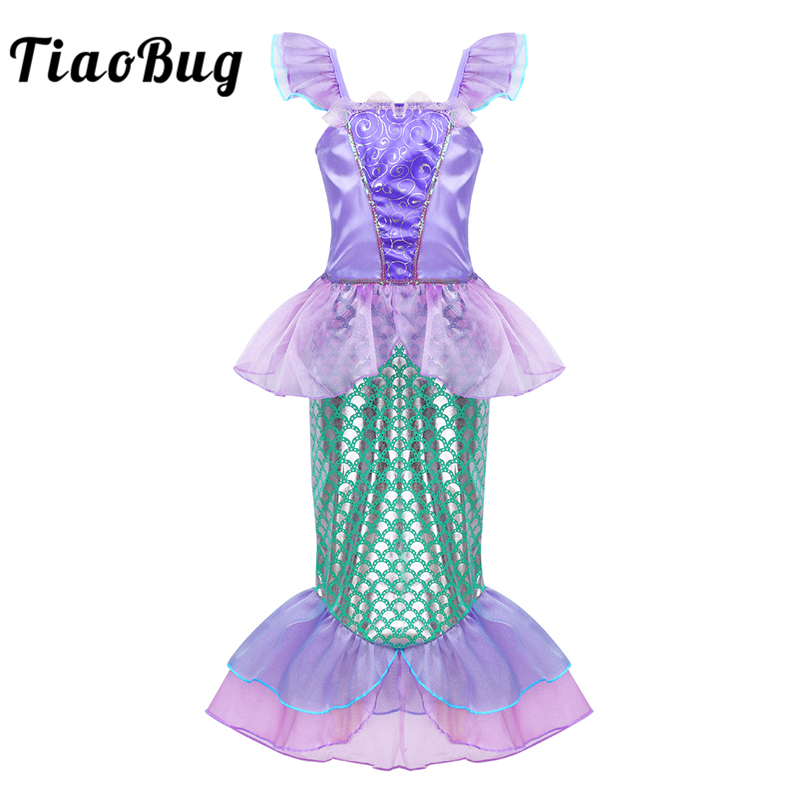 TiaoBug Cute Girls Cap Sleeve Sequin Scales Printed Long Dress Mermaid Costume Halloween Costume for Kids Princess Cosplay Party