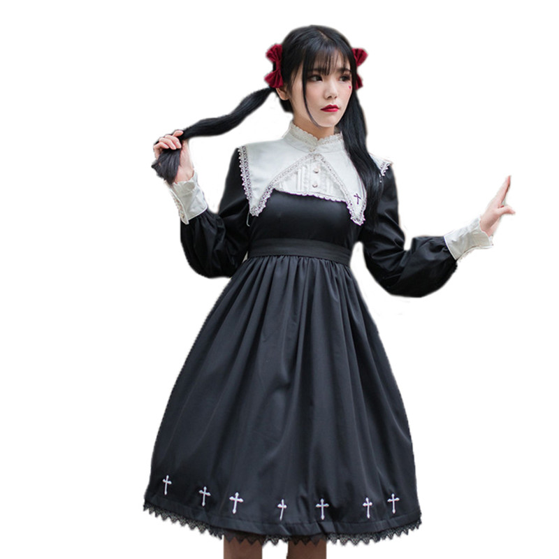 Punk Gothic Lolita Dress Girl Darkness Black Women Monasticism Vintage Full Sleeve Nun Cross Embroidery Halloween Cos Dresses