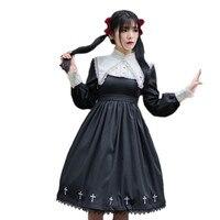 Punk Gothic Lolita Dress Girl Darkness Black Women Monasticism Vintage Full Sleeve Nun Cross Embroidery Halloween