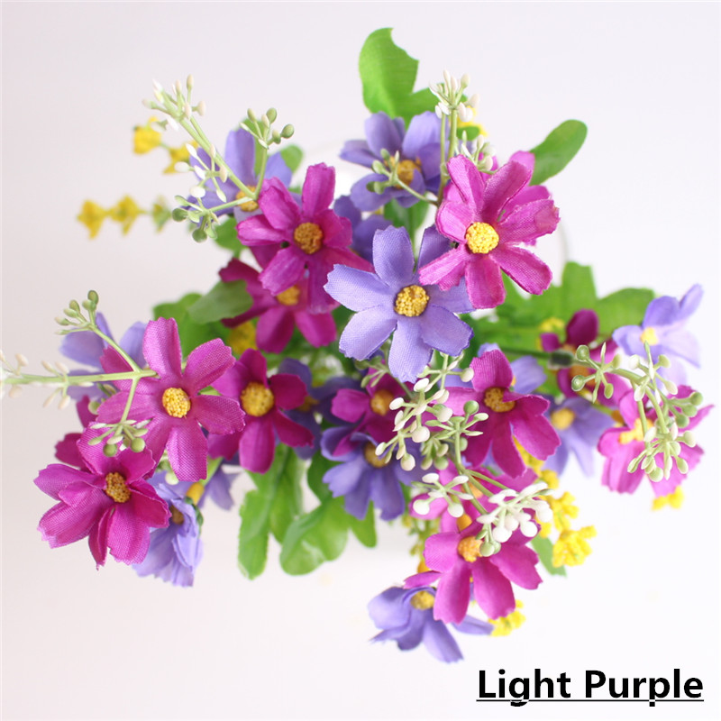 Cute Silk Daisy Artificial Flower With One Bouquet 7 Branch 28 Heads For Wedding Decoration 13