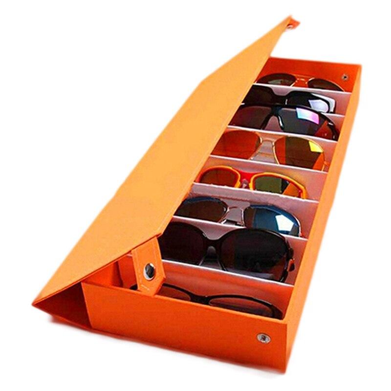 8 rejilla gafas de sol caja de almacenamiento gafas exhibidor caja de cristal herramienta ordenada Drop Shipping