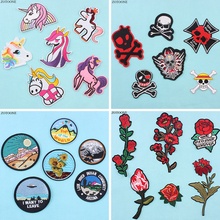 ZOTOONE 6Pcs Fashionable Multi-style Unicorn Skull Patch Stripes Embroidered Patches for Clothes Badges Applique on Clothing E