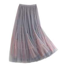 Pleated Skirt 2019 New Summer Korean Women Tulle Skirts High Waist Slim Patchwork Female Tutu Skirts Double Layers Faldas Saias недорого