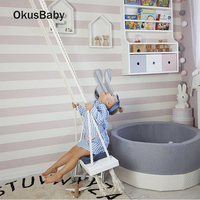 INS Baby Swing Chair Hanging Swings Set Children Toy Solid Wood Soft Seat with Cushion Safety Baby Indoor Grils Room Decoration