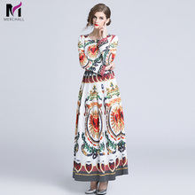Merchall Fashion 2019 Runway Maxi Dress Autumn New Womens High Quality Long Sleeve Vintage Retro Floral Print Casual