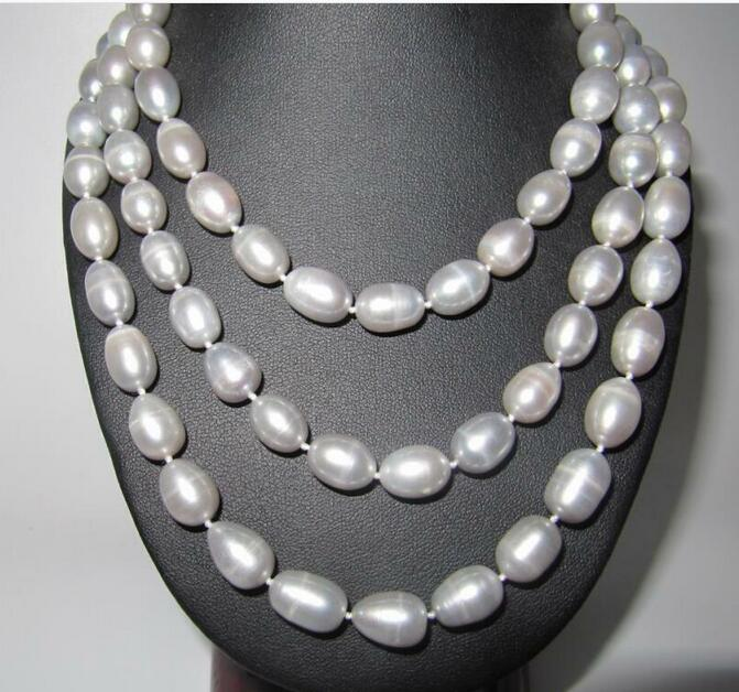 beautiful 69 9-11 MM natural White Pearl Necklace yellow claspbeautiful 69 9-11 MM natural White Pearl Necklace yellow clasp