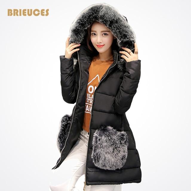 Invierno wadded la chaqueta de las mujeres cuello de piel grande medio-largo abajo chaqueta de algodón acolchado parka más tamaño abrigo de invierno ropa de las mujeres