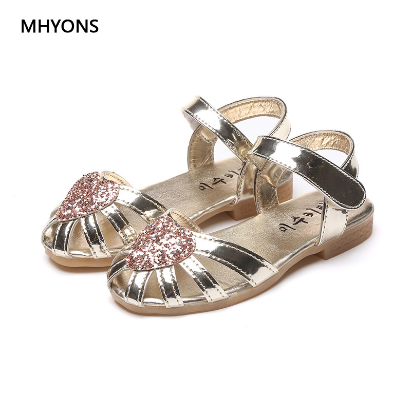 Glitter Square Low-heeled Party Kids Sandals