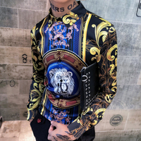 Lion Print Shirts Mens Gold Floral Blouse Mens Baroque Shirts Royal Slim Fit Luxury Shirts Mens Korean Fashion Clothing Club