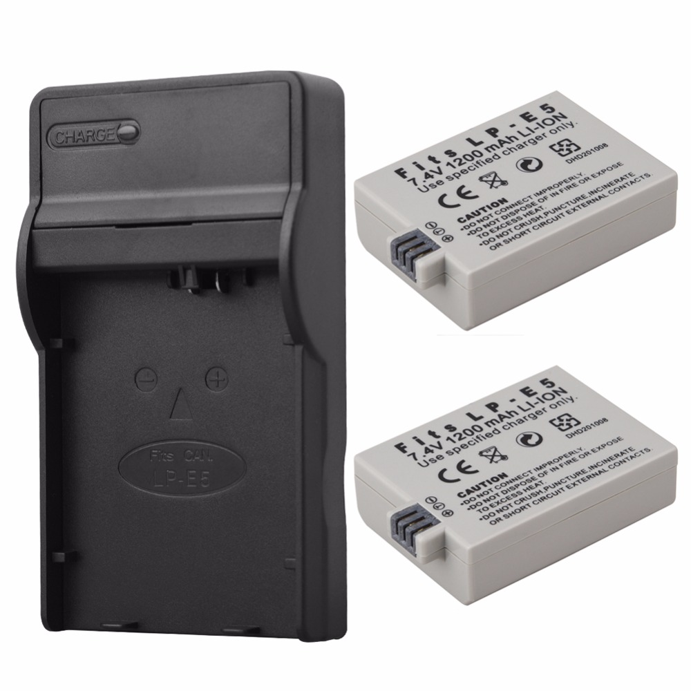 1200mah 7.4v Lp-e5 Lpe5 Lp E5 Rechargeable Camera Battery For Canon Eos 450d 500d 1000d Kiss X3 Kiss F Rebel Xsi Bateria+charger Colours Are Striking