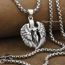 LINSION 925 пробы Серебряный голый крест с ангелами крылья мужские Байкер рок панк кулон 9F022