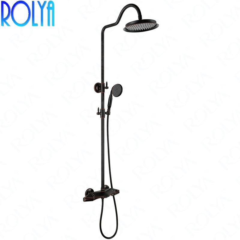 Rolya New Luxury Bathroom Shower Set Solid Brass Rose Golden/Chrome/ORB/Black Finish Shower System