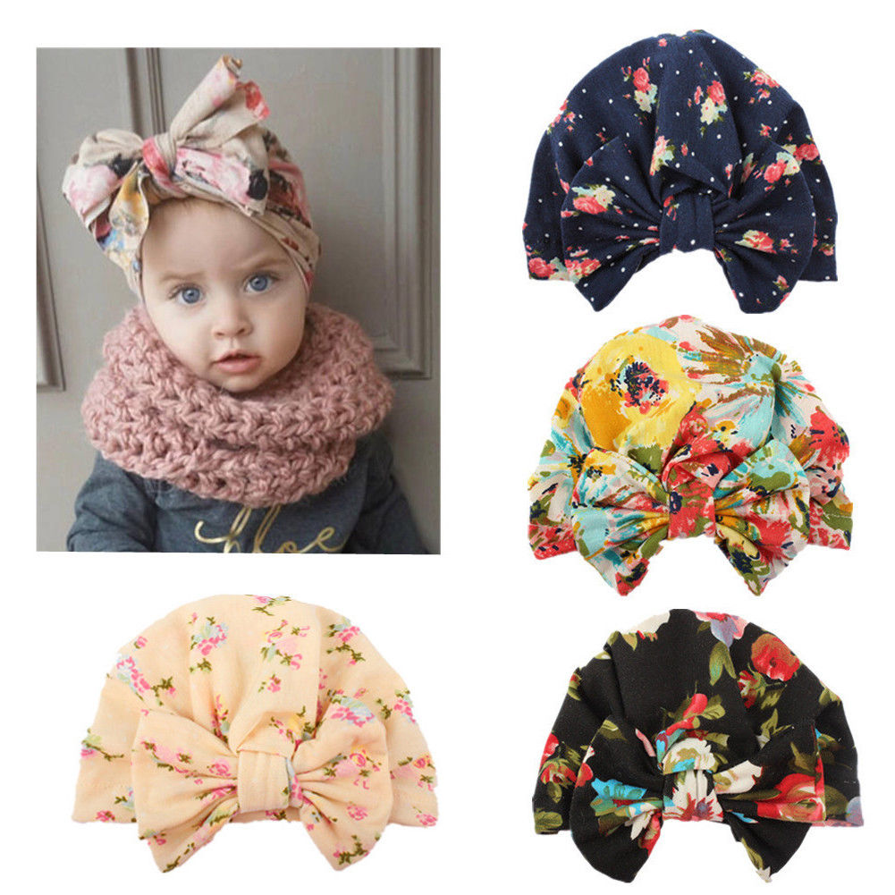 0-4Y Newborn Toddler Kids Baby Girl Flower Hats 2018 Brand New Turban Cotton Beanie Hat Winter Cap Lovely D15 women new elastic cap turban muslim ruffle cancer chemo hat beanie scarf turban head wrap cap ladies india take photo headscarf