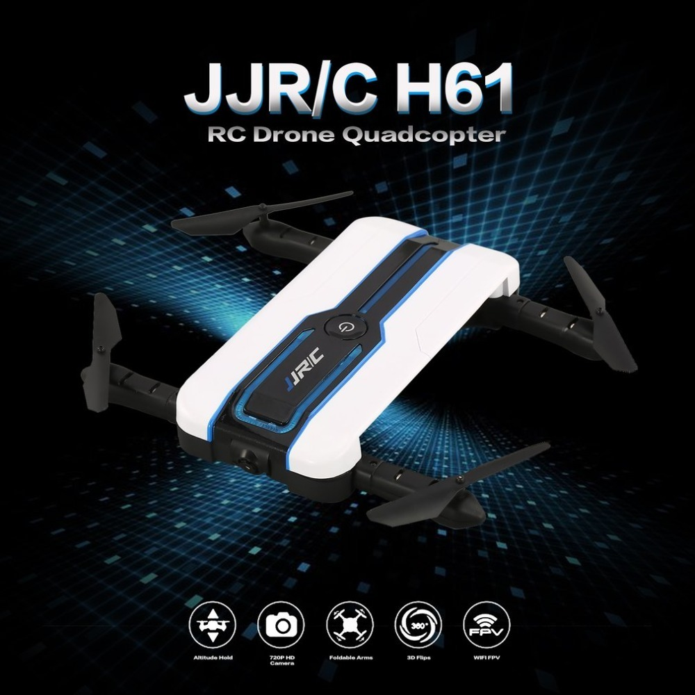 JJR/C H61 RC Drone Wifi FPV 720P HD Camera Mode Altitude Hold Headless Mode Flips & Rolls Foldable Selfie Quadcopter RC DroneJJR/C H61 RC Drone Wifi FPV 720P HD Camera Mode Altitude Hold Headless Mode Flips & Rolls Foldable Selfie Quadcopter RC Drone