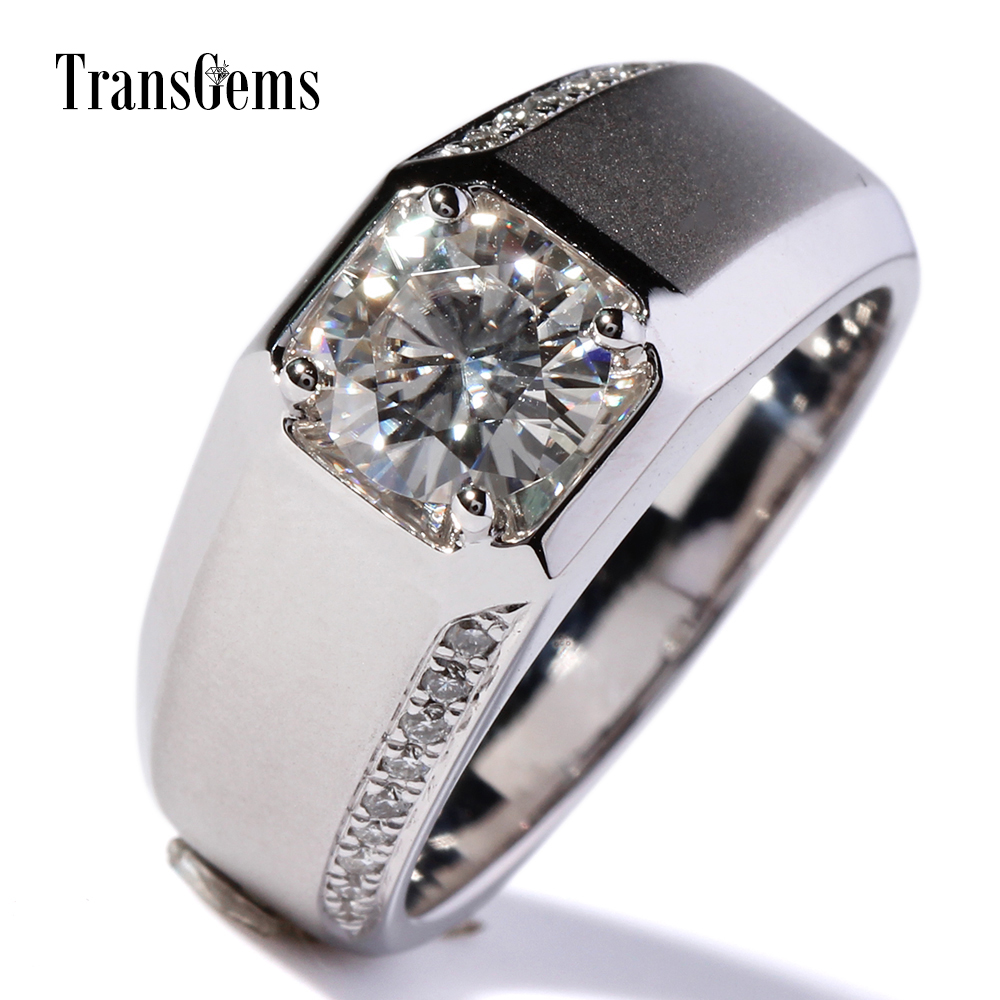 TransGems 1 Carat Lab Grown Moissanite Diamond Band moissanite Accents Wedding Engagement Ring Solid 14K White Gold for Men