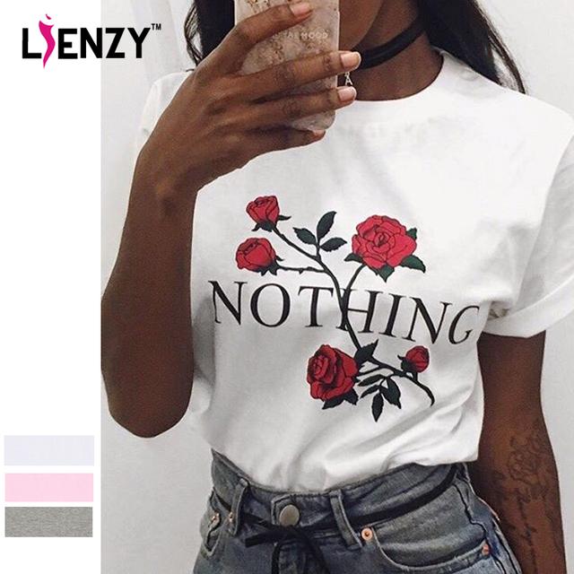 LIENZY Verano Ins Nada Carta Impresión de la Rosa de Las Mujeres Camiseta Blanca de Manga Corta Cuello O Mujeres Camiseta Básica Superior