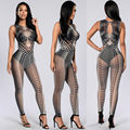 2016 New Women Summer Sleeveless Tribal Tattoo Print Mesh Jumpsuit  Curvy African Aztec Bodysuit Celebrity Catsuit Jumpsuit