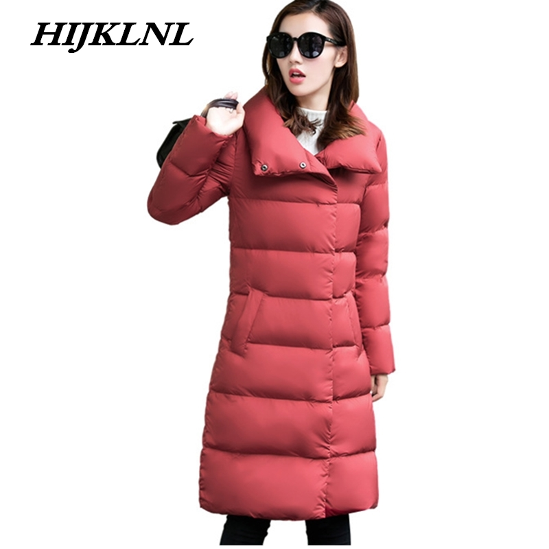2019 Women Winter   Down     Coat   slim Large Size Long   Down   Jacket Women Temperament Thicken   Coat   Fashion Solid Warm Outerwear CW071