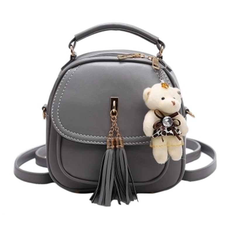 WOMENS Tassel with a Bear BACKPACKS Leather Backpack to School for Girls Female small Back pack;sac a dos femme;bolsa mochila ...