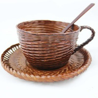 Natural Environmentally Friendly Bamboo Coffee cup Coffee Spoon Coffee Tray Set Milk Beverage Teacup Wooden Cup Wooden Tableware