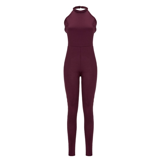 Women Wine Red Backless Jumpsuit 2016 Summer New Lady Sexy Criss Cross Bodycon Long Pants Jumpsuits Rompers One Piece Overalls