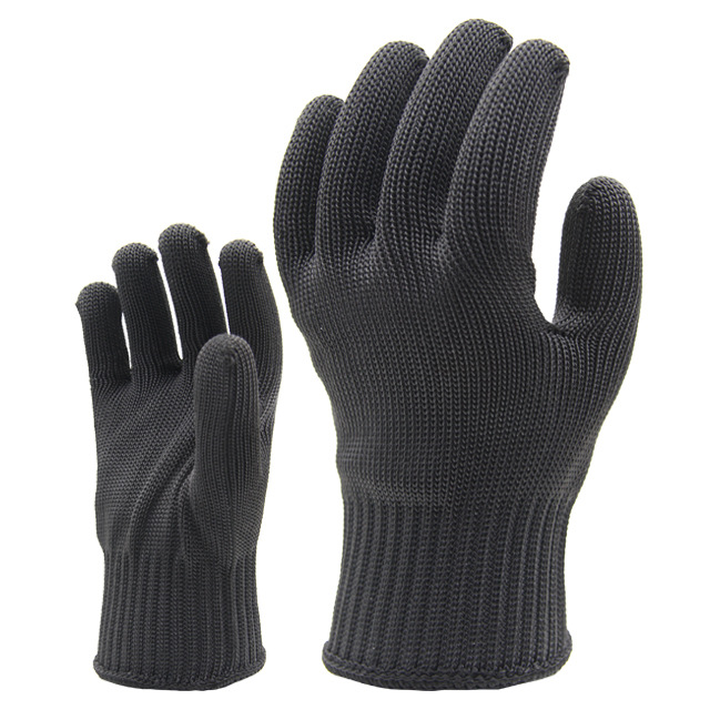 Polyester steel wire anti cutting gloves labor protection 5 level of anti cutting
