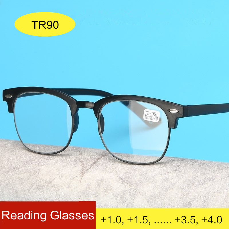 Classic Ultralight Reading Glasses Men Women Retro TR90 Half Frame Presbyopic Eyeglasses Anti Fatigue Prescription Glasses