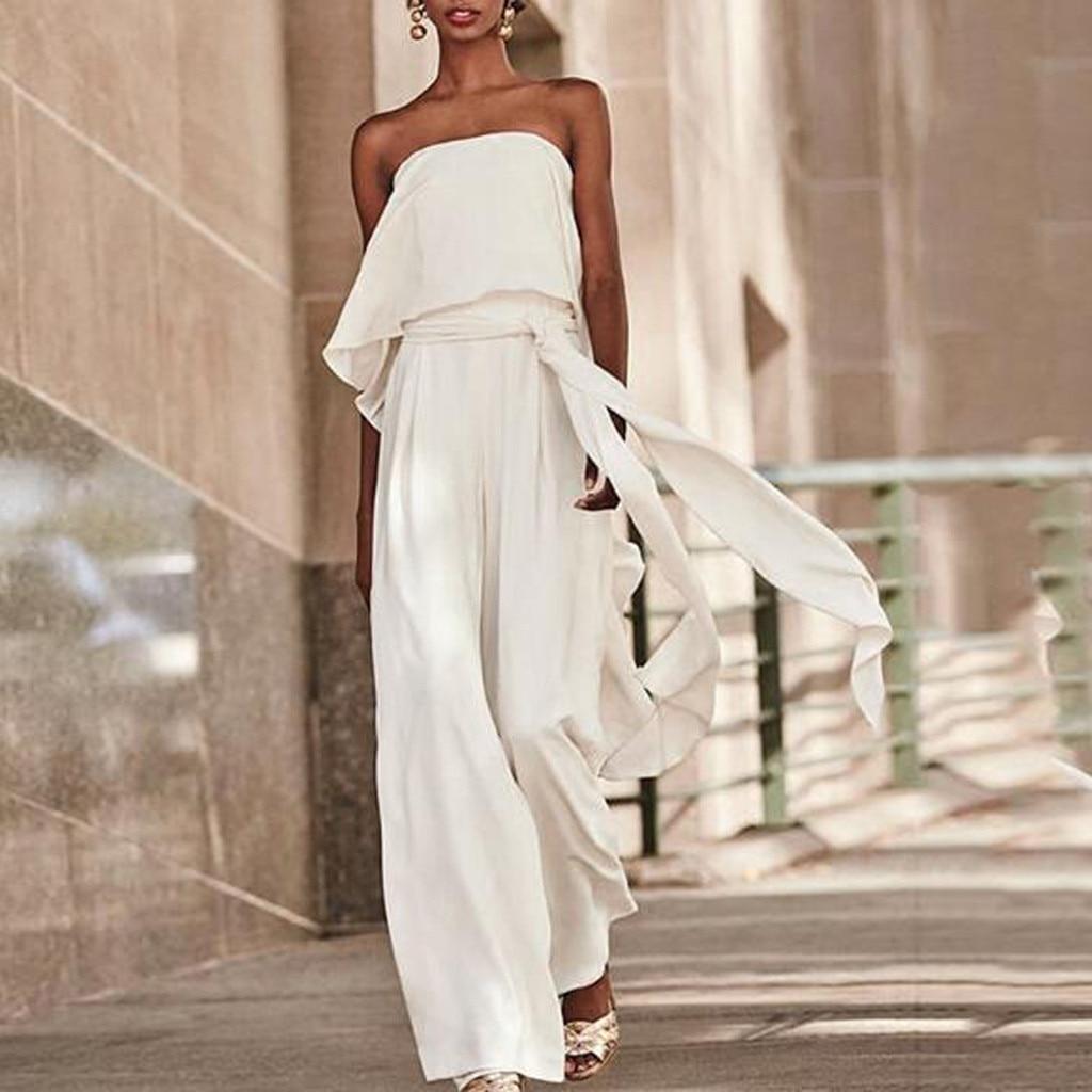 XXL Fashion One shoulder Sashes   jumpsuit   elegant Women Summer Solid Cold Off Shoulder Casual Loose Long Wide Leg Flare   Jumpsuits