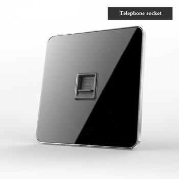 Type 86 Black mirror switch Household Wall TV Computer socket LED Light- Point switch 1 2 3 4 gang 1 2 way  EU socket USB 21