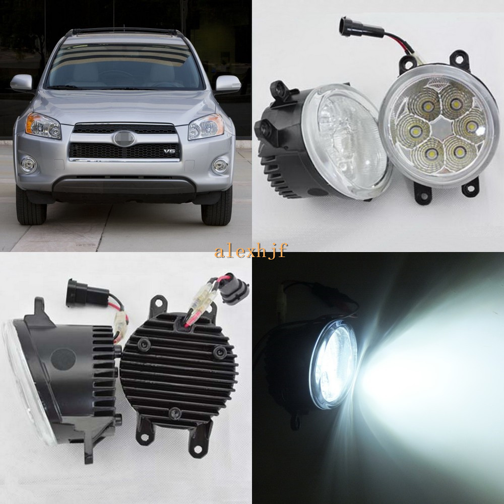 July King 18W 6500K 6LEDs LED Daytime Running Lights LED Fog Lamp Case for Toyota RAV4 2005~2012 ,over 1260LM/pc july king 18w 6500k 6leds led daytime running lights led fog lamp case for peugeot 107 2012 2015 over 1260lm pc