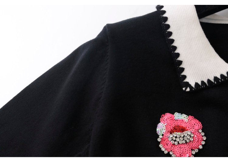 Embroidery Long Beading Gruiiceen Tie Bow Jerseys Sweater Women Black 2018 Sleeve Pullovers Female Knitted qRRIpwZf