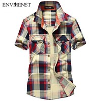 Summer New 2017 Casual Fashion Brand Plaid Shirt Short Sleeve Men S Shirts Slim Fit Dress