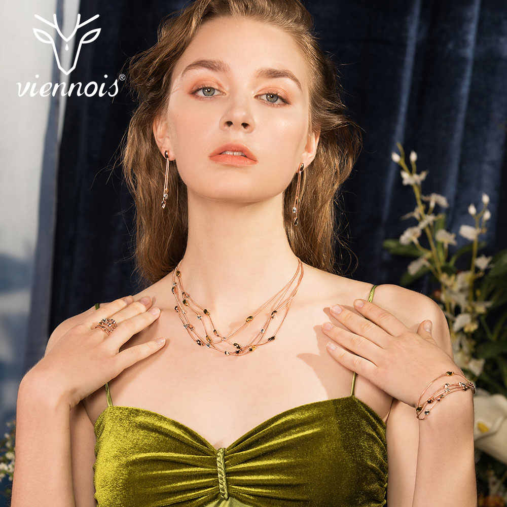 Viennois New Rose Gold Color Necklace Set For women Geomertic Necklace Earrings Set Party Jewelry Set