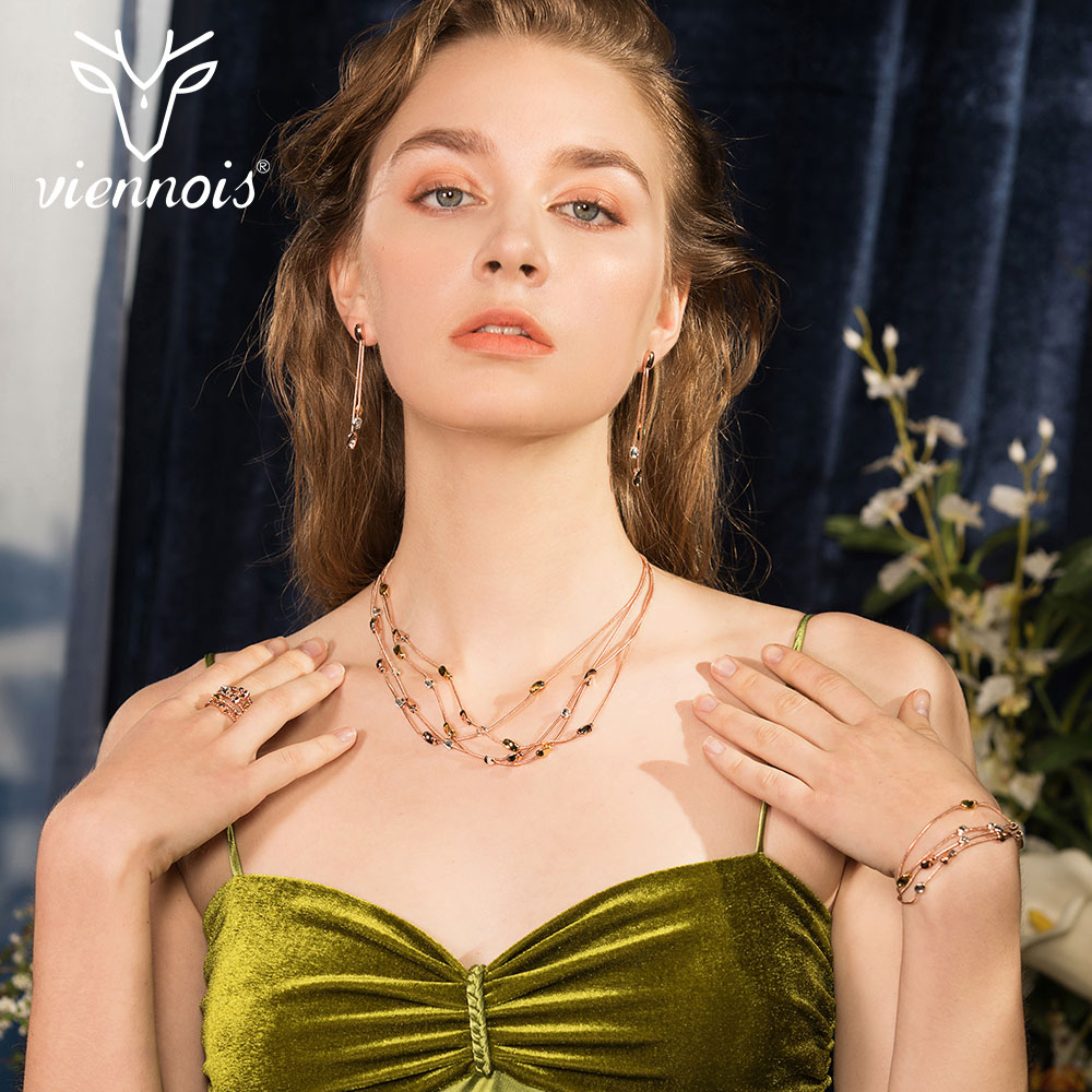 Viennois New Rose Gold Color Necklace Set For women Geomertic Necklace Earrings Set Party Jewelry SetViennois New Rose Gold Color Necklace Set For women Geomertic Necklace Earrings Set Party Jewelry Set