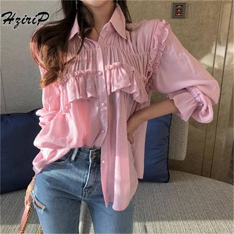 HziriP Для женщин блузки 2018 лето оборками твердые блузка свободные Повседневное отпуск розовая рубашка Для женщин футболки Blusas Camisas Mujer