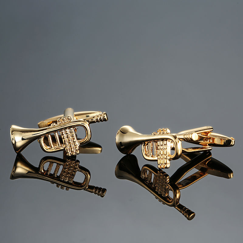DY new high quality brass musical instruments Sax trumpet drum piano violin music symbol French shirt Cufflinks free shipping 4