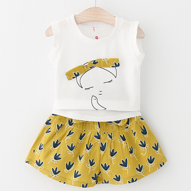 2018 New Summer Fashion Style Girls Children Clothes Suits Cute Pattern T-shirt+Short Pants 2Pc Kids Casual Clothes Sets