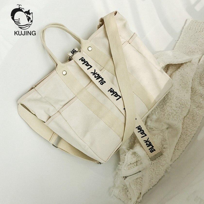 KUJING Ladies Handbag Simple Fashion Women Shoulder Messenger Bag Literary Women Travel Leisure Canvas Bag Hot Quality Women Bag