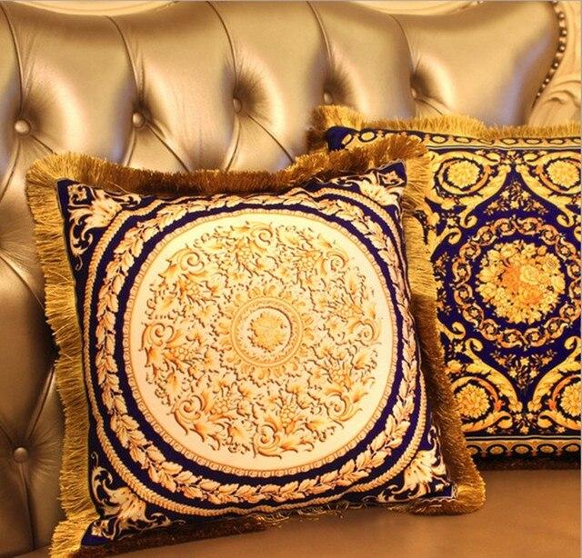 Gold Velvet Cushions Luxury Car Pillow Decorative Cushion Silver European