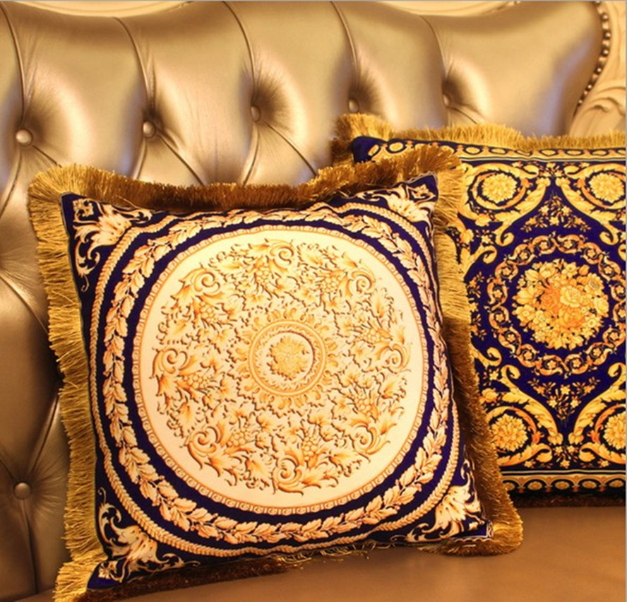 gold velvet cushions Luxury car pillow Decorative cushion, decorative silk pillow, silve ...