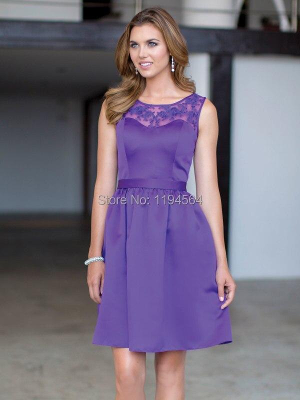 2015 nueva moda púrpura De satén con encaje cortos damas De honor ...