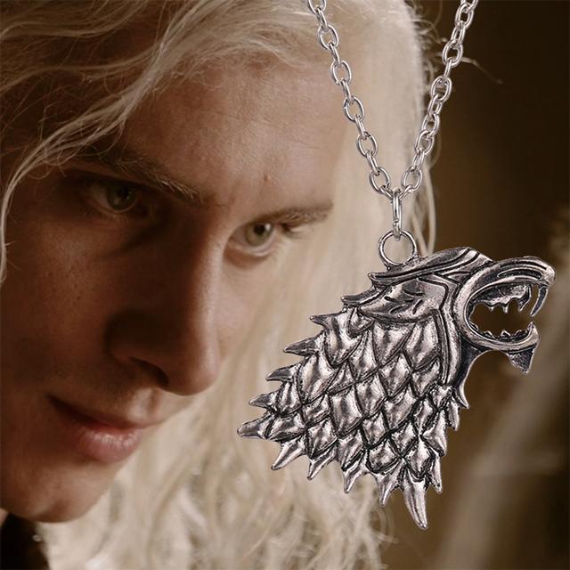 Game of thrones colar canção de gelo e fogo vintage stark dire wolf antigo pingente de prata para homens e mulheres por atacado