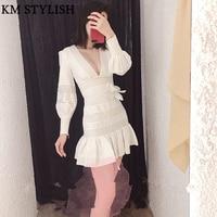 2018 Fall Winter Australia Zim New White Linen Lace Cutout Stripe V neck Slim Long Sleeve Fishtail Dress