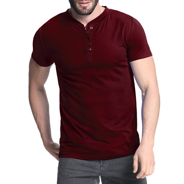277b746f1 2018 Men's T-shirt Henley Shirts Casual Muscle Tee Short Sleeve Pullover  Tshirt Men Clothes Fashion Slim Fit Male Top 3XL Hombre